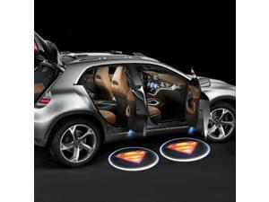Wanmingtek Car Door Projector Lights 2 Pcs Wireless Led Car Lights With Magnet Sensor Auto Courtesy Welcome Logo Shadow Lamp Battery Operated 6AAA included (Superman)