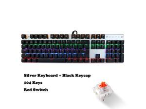Wanmingtek USB Wired Gaming Keyboard 104 Keys Red Switch Mechanical Gaming Keyboard, with LED Mix-light Anti-ghosting Blacklit for Gamer Tablet Desktop Computer