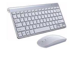 Wanmingtek Wireless Keyboard and Mouse Combo,Whisper-quiet 2.4G Metal Ultra-Slim Portable Cordless Keyboard for Computer Desktop,Silver
