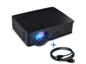 Wanmingtek GP9 Support 1080P HDMI 1500 Luminous LCD Mini Projector for Outdoor Indoor Movie, Home Theater Gift with HDMI Cable,Black