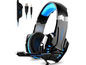 Wanmingtek KOTION EACH G9000 3.5mm Game Gaming Headphone Headset Earphone Headband with Microphone LED Light for for New Xbox One/PS4/Tablet/Laptop/Cell Phone- Black and Blue