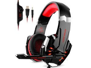 Wanmingtek KOTION EACH G9000 3.5mm Game Gaming Headphone Headset Earphone Headband with Microphone LED Light for for New Xbox One/PS4/Tablet/Laptop/Cell Phone- Black and Red