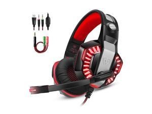 Wanmingtek Gaming Headset for PS4 Xbox One,Stereo Over Ear Gaming Headphones Noise Cancelling Wired PC Headset with Mic/Bass Surround/Volume Control/LED Light for Playstation 4/Laptop/Mac/PC-Red
