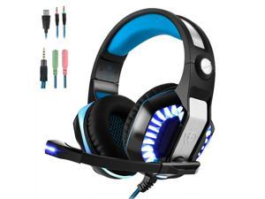 Wanmingtek Gaming Headset for PS4 Xbox One,Stereo Over Ear Gaming Headphones Noise Cancelling Wired PC Headset with Mic/Bass Surround/Volume Control/LED Light for Playstation 4/Laptop/Mac/PC-Blue