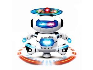 Wanmingtek Dancing Robot Space Dancing Electric 360 Degree Stunt Rotating Dynamic Sound And Light Intelligent Robot With Flash Lights And Music For Kids Toddler