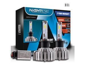 NIGHTEYE H1 Car LED Headlight Bulbs, Nighteye A333 T1 80W 9000LM 6000K Cool White IP68 Waterproof CSP LED Chip Automotive Light Bulbs All-in-one Conversion Kit - 3 Year Warranty