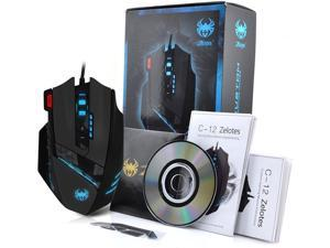Zelotes 12 Programmable Buttons MMO Gaming Mouse,8 Adjustable Weights,4000 DPI (Up to 8000DPI by the Software),Multi-Modes LED lights USB Wired Mice for Gamer,PC,Laptop,Computer,Black