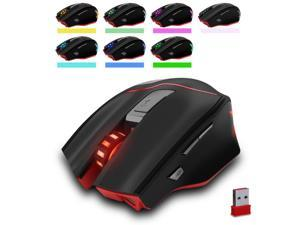 Zelotes 3200DPI Rechargeable Dual-Mode Wired / Wireless Mouse,6 Adjustable DPI Levels,7 Buttons LED Portable Computer gaming mouse Mice with USB Nano Receiver for Gamer,PC,Mac,Laptop,Macbook,Black