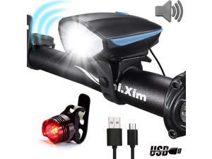 Best Bike Lights with Super Loud Bike Horn, Night Bicycle Safety Flashlight, USB Rechargeable & Waterproof LED Bicycle Light set, Bike Light Set, 3 Modes Headlight and 4 Modes Taillight, Fast Install
