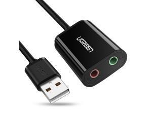 Wanmingtek USB External sound card USB To 3.5mm Jack Femal Earphone Mic headset Adapter 2 Hole Audio Card For Speaker Laptop PS4 PC, Black