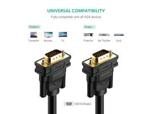 Wanmingtek 1080P VGA Cable VGA to VGA Flat Cable Male to Male Black Braided High Premium Shielding VGA Cable Support 1080P Full HD for Projectors, HDTVs, Displays and More VGA Devices--(6.6ft/2m)