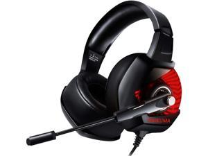 ONIKUMA Gaming Headset casque PC Gamer Bass Stereo Headphones with Microphone for PS4 Gamepad New Xbox One Computer Laptop- Red LED Light