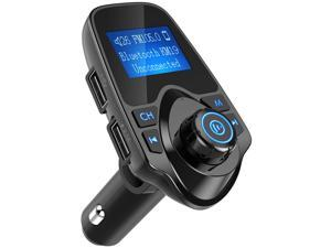 Wanmingtek Bluetooth FM Transmitter for Car, Wireless Radio Transmitter Adapter with Power Off Function, Hands-Free Car Kit Charger, 1.44'' LCD Diaplay, Music Player, 2 USB Ports, AUX In/Out, TF Card