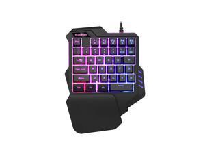 Wanmingtek Gaming Keyboard USB Wired Single Hand Professional LED Backlit Mini Mechanical Feel Keyboard Deskto Ergonomic with Wrist For PC