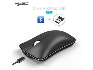 HXSJ Wireless Gaming Mouse, Unique Silent Click, Bluetooth + 2.4 G wireless Mice, 1600DPI for PC Computer Laptop Office - Black