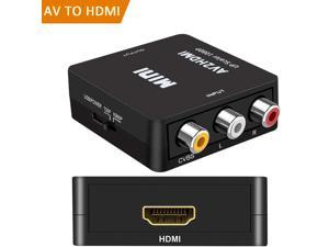 Jansicotek 1080P Composite 3 RCA/CVBS AV to HDMI Video Audio Converter Adapter Upscaler with USB Charging Cable, Supporting PAL/NTSC for TV/PC/ PS3/ STB/Xbox VHS/VCR/Blue-Ray DVD Players, Black