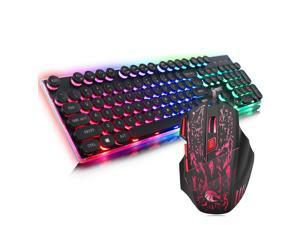 ZERODATE J40 Gaming Keyboard Mouse Combo, LED Backlit 104 Keys USB Wired Ergonomic Keyboard, 7 Button Mouse for Windows PC Gamer - [Keyboard Mouse Set]