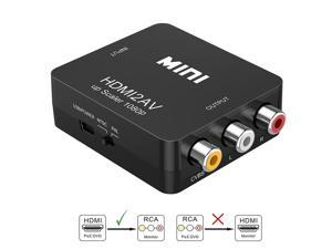 Wanmingtek HDMI to RCA- 1080P HDMI to AV 3RCA CVBs Composite Video Audio Converter Adapter Supporting PAL/NTSC with USB Charge Cable  (Black)