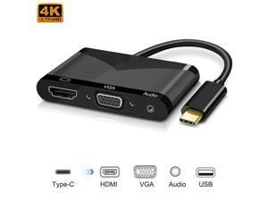 Wanmingtek USB-C to HDMI VGA Adapter, USB 3.1 Type C to VGA HDMI 4K UHD Converter Adaptor for 2016/2017 MacBook, Macbook pro