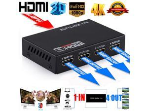 Jansicotek 4K 1x4 HDMI Splitter (with Power Supply), 1 in 4 Out Port Powered V1.4b 4K@30Hz Video Converter with Full Ultra HD 1080P, 4Kx2K and 3D Resolutions (1 Input to 4 Outputs)