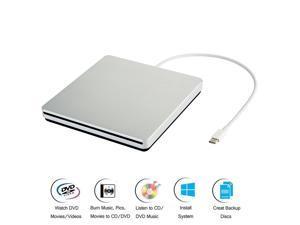 Jansicotek Apple External CD DVD Drive, Portable Slim CD/DVD +/-RW Drive, USB 3.0 Type C Rewriter Burner for Windows 10/8 / 7 Laptop Desktop Mac MacBook Pro/Air Mac OSX, not support ipad XD055, Silver