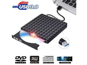 Wanmingtek Diamond Pattern  External CD Drive USB 3.0 Portable CD DVD +/-RW Drive Slim DVD/CD ROM Rewriter Burner Writer Compatible with Laptop Desktop PC Windows Linux OS Apple Mac  (Black)