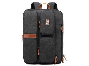 Jansicotek Water Resistant Multifunctional Business Professional and College School Student Backpack Daypack Fits 17.3'' Laptop. Convertible backpack to briefcase and shoulder bag (Canvas Black)