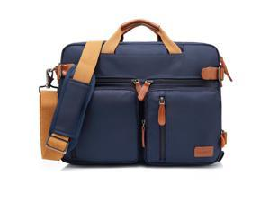 Wanmingtek CB-10001 3-in-1 Multifunction Men's Briefcase Rucksack Messenger Bag Convertible Vintage Nylon Laptop Backpack 15.6 inch Laptop Bags Handbag Travel Hiking Rucksack (Blue)