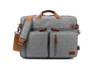 Jansicotek CB-10001 3-in-1 Multifunction Men's Briefcase Rucksack Messenger Bag Convertible Vintage Nylon Laptop Backpack 17.3 inch Laptop Bags Handbag Travel Hiking Rucksack (Gray)