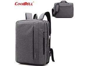 CoolBELL Convertible 17.3 Inch Laptop Backpack 3 in 1 Travel Busniess Multi-functional Shoulder Briefcase Water Repellent College School Computer Bag, CB-5501 Gray