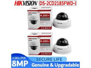 Hikvision Original DS-2CD2185FWD-I 8MP CCTV Camera Network Camera Updatable Camera Audio Alarm Interface POE SD card 30m IR H.265+ IP camera IK10 IP67, (8MP, 2.8mm fixed lens, 2 Pcs)