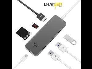 "CharJenPro Certified USB C HUB for MacBook Pro 16"" 2019, 2018, 2017, MacBook Air 2019, 2018, USBC Hub with 4K HDMI, SD, Micro SD, and 3 USB 3.0, Power Delivery, Thunderbolt 3 Hub, USB-C Hub SpaceGrey"