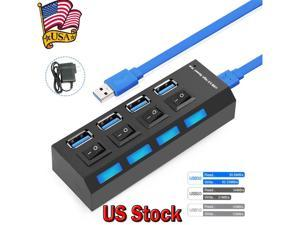 4 Ports USB 3.0 Hub, Portable SuperSpeed USB 3.0 Hub, Individual On/Off Switches LED, USB Extension Multi-function USB Dock Hot Swapping Support, Come with US AC Power Plug