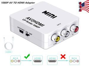 AV to HDMI Converter, RCA Composite AV CVBS to HDMI Audio Video Mini Converter Adaptor Full HD 720P 1080P with USB Charge Cable Support PAL/NTSC for PS3/STB/ Xbox/VHS/VCR/Blue-Ray DVD Players/TV/PC