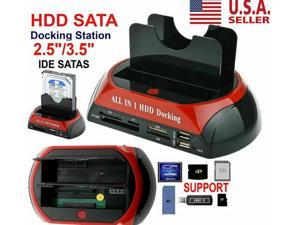 Dual Slots HDD/SSD Dock - USB 2.0 to SATA and IDE External Hard Drive Docking Station for 2.5 or 3.5 inch HDD, SSD 5Gbps Dual bay Hard Drive Enclosures, All in 1 Card Reader XD/TF/MS/CF/ SD Card