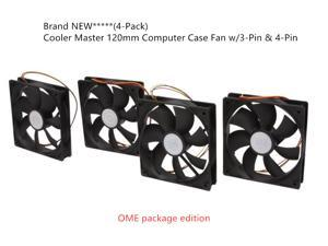 Cooler Master 120mm Computer Case Fan w/3-Pin & 4-Pin - 4 pack OEM Package edition