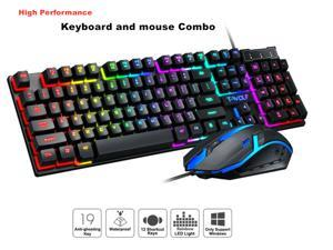 High Performance Keyboard and mouse combo - Rainbow LED Backlit Mechanical Feeling Gaming Keyboard and Mouse Combo for Working or Gaming 104 Keys Ergonomic Multimedia Keyboard