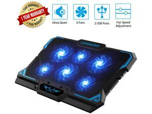 High Performance Game Laptop Cooling Pad, Laptop Cooler with 6 Quiet Led Fans for 15.6-17 Inch Laptop Cooling Fan Stand, USB Powered Gaming Laptop Cooling Pad, Switch Control Fan Speed Function