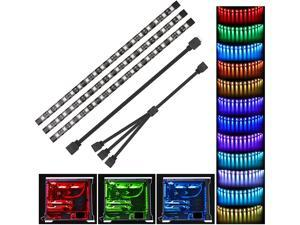 RGB LED Strip Lights PC - Speclux 3pcs 5050 Magnetic Computer Case LED Light Strips for M/B with 12v 4pin RGB Header Compatible with Asus Aura, Asrock RGB Led, Gigabyte RGB Fusion, MSI Mystic Light