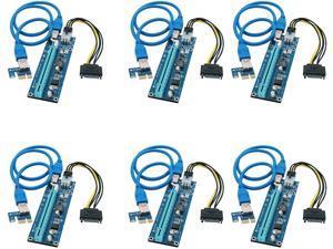 FebSmart PCI-E Riser for Bitcoin Litecoin ETH Coin Mining 6 PIN Powered PCIE Extension Cable GPU Riser Ethereum Mining ETH GPU Extension Cable PCIEX1 to PCIE X16 Extender V006C GPU Riser(6 PCS)