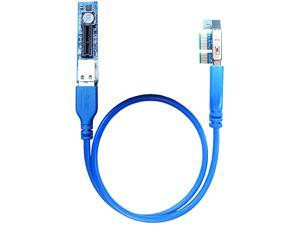 GLOTRENDS 1X to 1X PCI-E Extension Cable 0.6M for Hidden Pcie Slot, Limited Space Installation,Saving Your Blocked PCIe Slot,Come with USB3.0 Cable (UEX101)