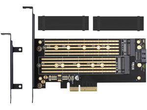 Dual M.2 PCIE Adapter for SATA or PCIE NVMe SSD with Advanced Heat Sink Solution,M.2 SSD NVME (m Key) and SATA (b Key) 22110 2280 2260 2242 2230to PCI-e 3.0 x 4 Host Controller Expansion Card