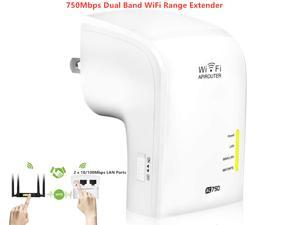 AC750 Dual Band Wireless WiFi Range Extender, 750Mbps WiFi Booster, Access Point, Wireless Router, 2 x 10/100Mbps LAN Ports, WPS, IEEE 802.11 ac/a/b/g/n, Extends 2.4G and 5G WiFi Range