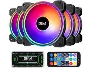 GIM KB-24 RGB Case Fans, 5 Pack 120mm Quiet Computer Cooling PC Fans, Music Rhythm 5V ARGB Addressable Motherboard SYNC/RC Controller, Colorful Cooler Speed Adjustable with Fan Control Hub