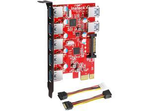 Superspeed 7 Ports PCI-E to USB 3.0 Expansion Card - 5 USB 3.0 Ports and 2 Rear USB 3.0 Ports Express Card Desktop with 15 Pin SATA Power Connector, Including Two Power Cables