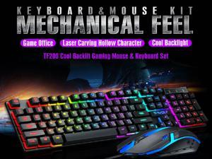 High Performance Keyboard and mouse combo - Rainbow LED Backlit Mechanical Feeling Gaming Keyboard and Mouse Combo for Working or Gaming 104 Keys Ergonomic Multimedia Keyboard