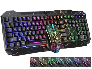 High Performance Gaming Keyboard and Mouse Combo, LED Rainbow Backlit USB Wired Computer Keyboard 104 Key, Spill-Resistant Design, Ergonomic Wrist Rest Keyboard Mouse Set for Windows PC Gamer - Black