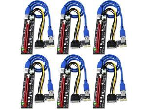 PCIe Riser, High Performance 1x to 16x Powered Riser Adapter Card for Bitcoin Litecoin ETH C oin Mining 6 PIN Powered PCIE Extension Cable GPU Riser Ethereum Mining ETH GPU Extension Cable - 6 Pack
