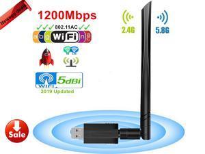 USB Wifi Adapter - USB 3.0 Wireless 1200Mbps Dual Band 2.4G/5G Wireless Lan Network Card Dongle with High Gain 5dBi Antenna IEEE802.11ac/n/g/b For Desktop Laptop PC - Windows XP/Vista/7/8/8.1/10,Mac