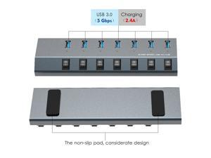 7-Port USB 3.0 Superspeed Hub with 48W Power Adapter, On/Off Switches with BC 1.2 Charging  up to 5V/2.4A per port Support for Macbook, iPad, iPhone, Laptops, Tablets, Mobile HDD and more
